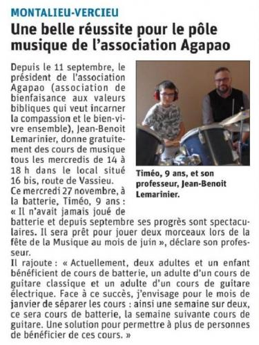 Image de l'article Encore des places pour les cours de guitare et batterie!